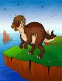 Pachycephalosaurus предпосылка моря иллюстрация вектора