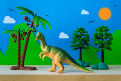 Pachycephalosaurus dinosaur toy model. On wild models background Royalty Free Stock Image