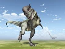 Pachycephalosaurus and Mamenchisaurus Stock Photo