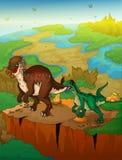 Pachycephalosaurus y rapaz con el fondo del paisaje Fotos de archivo