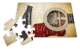 Paciência e paixão a aprender jogar a guitarra passo a passo - imagem do conceito na forma do enigma fotos de stock