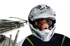 Paciente cómico, um capacete em uma cadeira dental fotografia de stock royalty free