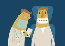 Paciente com dentista em um tratamento dental ilustração do vetor