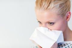 Paciente con la gripe Imagenes de archivo