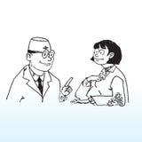 Paciente del doctor y de la hembra stock de ilustración