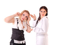 Paciente del doctor y de la mujer Fotos de archivo libres de regalías