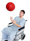 Paciente en la silla de ruedas que se divierte Foto de archivo libre de regalías