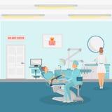Paciente en una bandera del detalle del color de la cita del dentista para el web y el diseño móvil ilustración del vector