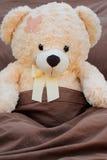 Paciente enfermo del oso de la felpa en cama Imágenes de archivo libres de regalías