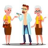 Paciente europeo de la mujer mayor del doctor Giving Glasses To del oculista con vector del problema de Vision Ejemplo aislado de libre illustration