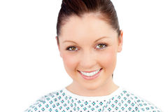 Paciente fêmea alegre que sorri na câmera fotos de stock