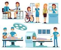 Paciente médico y doctores en sistema médico del vector de la actividad