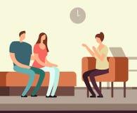Paciente no sofá que aconselha com conceito mental do vetor da terapia de Addiction do psicólogo ilustração do vetor