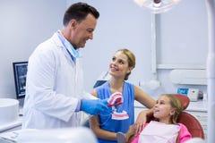 A paciente novo do dentista mostrando como escovar os dentes fotografia de stock