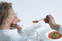 Paciente que rechaza la comida Imagenes de archivo
