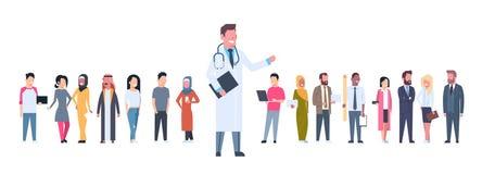 Pacientes do médico Over Group Of na bandeira horizontal do fundo branco ilustração stock