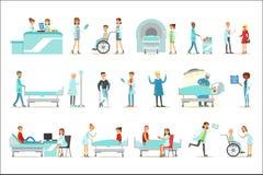 Pacientes feridos e doentes no hospital que recebe o tratamento médico dos doutores e das enfermeiras profissionais ilustração stock