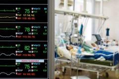 Pacientes que vigilan en ICU foto de archivo libre de regalías