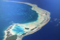 Pacific Atoll Rangiroa. Magnificent view on Pacific Atoll Rangiroa. Aerial view. French Polynesia Royalty Free Stock Image