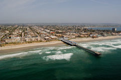 Pacific Beach. An aerial view of the Pacific Beach region of San Diego, California Royalty Free Stock Images