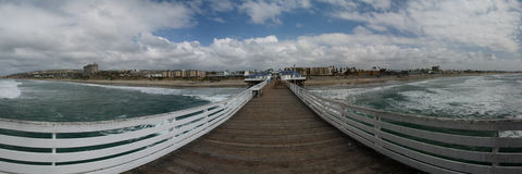 Pacific Beach Panoramic  Pier Beach View. Taken on Crystal Pier San Diego Ca. This blows up real nice Stock Photography