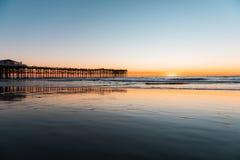 Pacific Beach Pier taken in Sunset stock photos