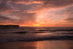 Pacific beach sunset Stock Photography