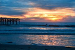 Pacific beach sunset Royalty Free Stock Photo