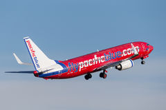 Pacific Blue Airlines Virgin Australia Airlines Boeing 737 taking off from Sydney Airport. Royalty Free Stock Photos