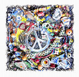 Pacific card. Illustration of ornamental peace sign on grunge multicolor background. Stock Photo
