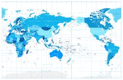 Pacific Centered World Map In Colors of Blue stock illustration