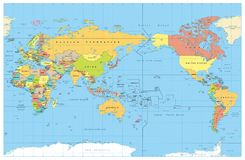Pacific Centred World Colored Map. No Bathymetry. Countries and capitals, cities, borders and water objects, state outline. Detailed World Map vector stock illustration