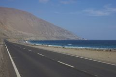 Pacific coast of Chile in the Atacama Desert. Road Route 1 running along the Pacific coast in the Antofagasta Region of northern Chile where the Atacama Desert Royalty Free Stock Image