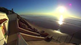 Pacific Coast Encinitas California - Stone Steps stock video