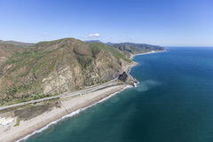 Pacific Coast Highway and Mugu Rock California Aerial Stock Photo