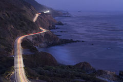 Pacific Coast Highway at night. A stretch of Pacific Coast Highway near Miller Creek just after sunset near Big Sur, California Royalty Free Stock Images