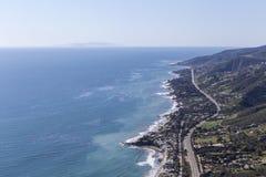 Pacific Coast Highway North Malibu California. Aerial view of Pacific Coast Highway and the coast north of Malibu in Los Angeles County, California Stock Image