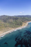 Pacific Coast Highway North Malibu California. Aerial view of mountains, ocean kelp and Pacific Coast Highway north of Malibu in Southern California Stock Photography