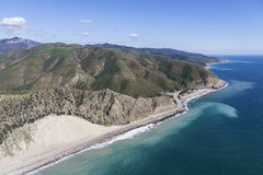 Pacific Coast Highway Noth of Malibu Aerial. Aerial view of coastal sand dune and Pacific Coast Highway north of Malibu in Southern California Royalty Free Stock Image