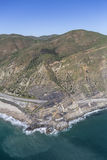Pacific Coast Highway at Point Mugu California. Aerial view of Pacific Coast Highway passing Point Mugu near Malibu in Southern California Stock Photos