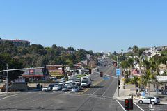 Pacific Coast Highway seen from the pedestrian bridge. DANA POINT, CA - DEC 1, 2017: Pacific Coast Highway seen from the pedestrian bridge looking north up the Royalty Free Stock Photos