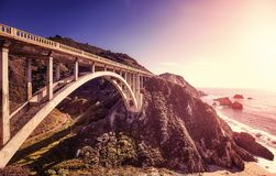 Pacific Coast Highway at sunset, USA. Stock Photography