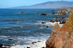 Pacific Coast Landscape Northern California. Rocky cliffs overlooking the Pacific Ocean at Bodega Bay California stock photo