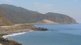 Pacific Coast at Malibu - aerial view stock video footage