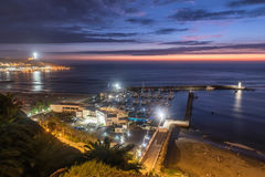 The Pacific coast of Miraflores at night in Lima, Peru Stock Photos