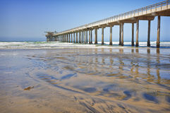 Pacific Coast Pier, La Jolla California. Located in a scenic coastal area frequented by locals and tourists alike for outdoor recreational water activities, the royalty free stock photos