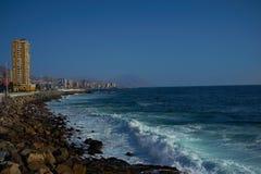 Pacific Coast. Rocky sea front along the Pacific Ocean at Antofagasta in the Atacama Region of Chile stock image