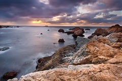 Pacific coast at sunset Royalty Free Stock Image