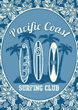 Pacific Coast surfing club. Vector illustration of 3 surf boards and palms on a matching tropical repeat pattern Stock Photo