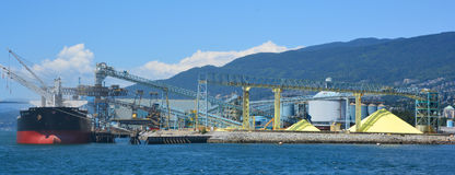 Pacific Coast Terminals. VANCOUVER BC CANADA JUNE 10 2015: There are two sulphur terminals serving the West Coast of Canada, Kinder Morgan Vancouver Wharves and Stock Image